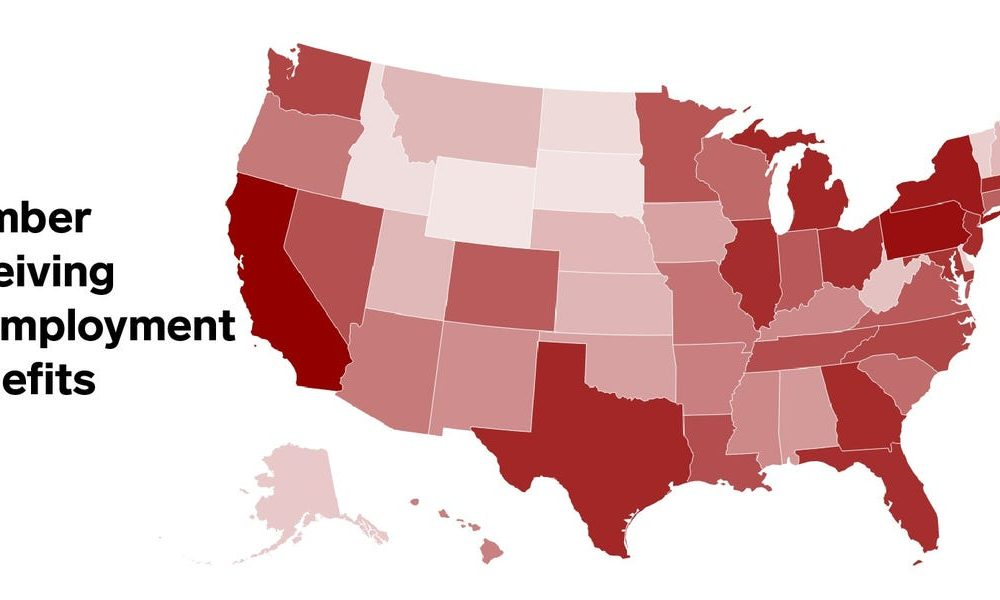 A map of the states with the most residents receiving unemployment benefits, just as expanded federal aid expires